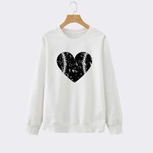 Sweatshirt mit Herzen Muster und rundem Kragen