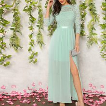 Guipure Lace Top Split Thigh Prom Dress