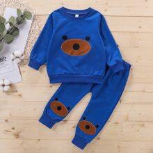 Toddler Boy Cartoon Pattern Sweatshirt & Sweatpants Set