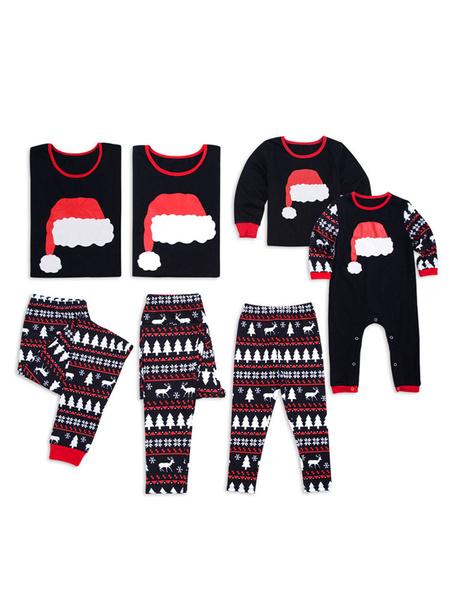 Milanoo Christmas Pajamas Family Matching Father Black Reindeer Printed Top And Pants 2 Piece Set For Men