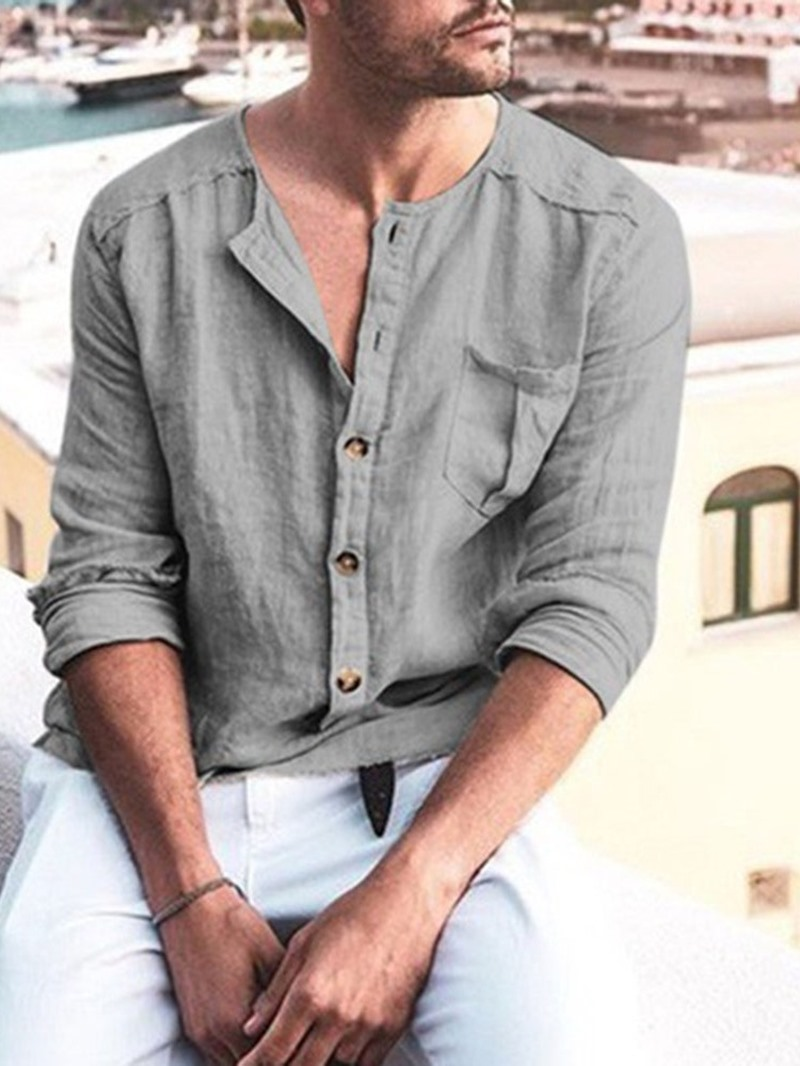 Ericdress Casual Plain Color Button Fall Style Men's Shirt