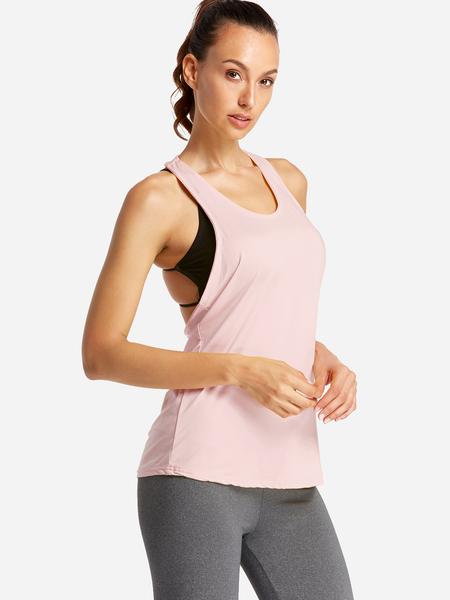 Yoins Pink Backless Design Letter Scoop Neck Sport Camis