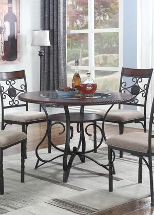 Linden Collection LD200-T Dining Table with Pedestal Base and Metal Legs in Coffee