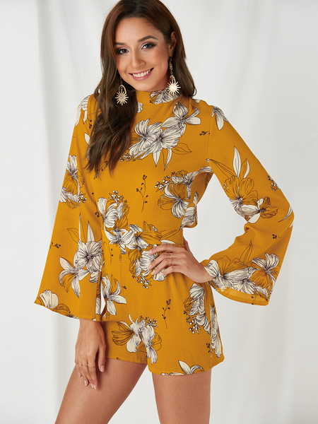 Yoins Yellow Backless Design Random Floral Print Turtleneck Flared Sleeves Playsuit