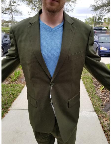 Mens Medium Olive Green 2 Buttons Suit Pleated Pants Notch Lapel