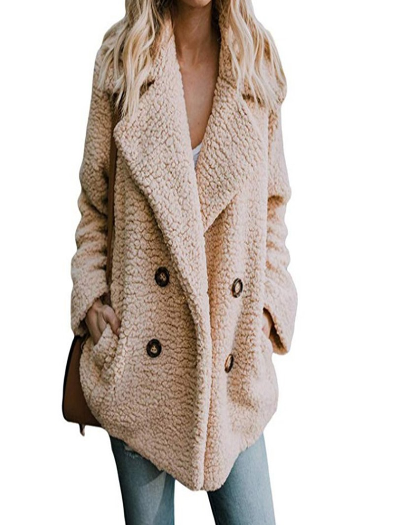 Ericdress Lapel Loose Double-Breasted Mid-Length Plain Coat