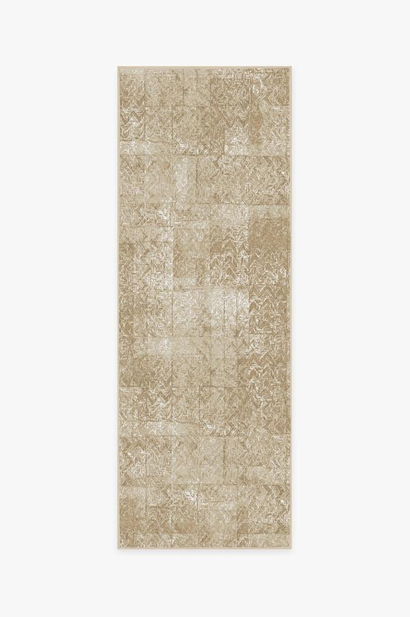 Washable Rug Cover & Pad | Herringbone Batik Natural Rug | Stain-Resistant | Ruggable | 2.5x10