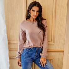 Drawstring Waist Drop Shoulder Sweater