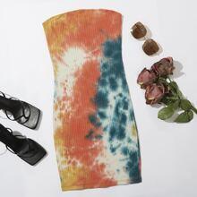 Strick figurbetontes Kleid mit Batik