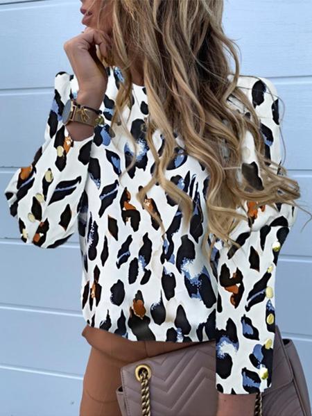 Yoins White Button Design Leopard Round Neck Long Sleeves Blouse