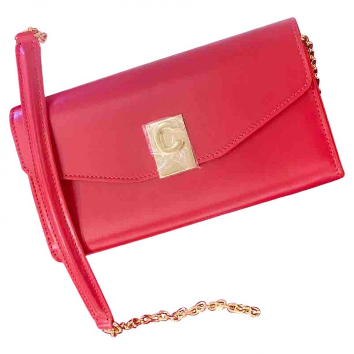 Celine - Pochette C charm pour femme en cuir - rouge