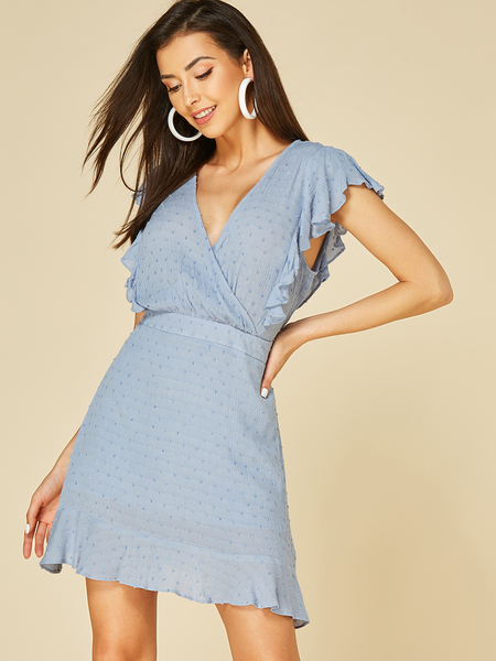 YOINS Light Blue Ruffle Trim Deep V Neck Short Sleeves Dress