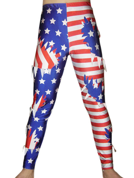 Milanoo US Flag Wrestling Pants Spandex Lycra fabric Multi Color Men's Pants