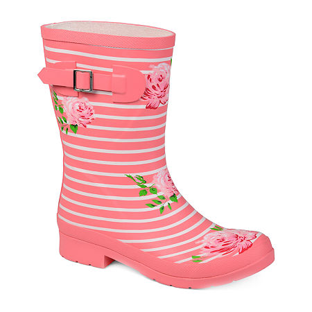 Journee Collection Womens Seattle Rain Boots Block Heel, 11 Medium, Pink