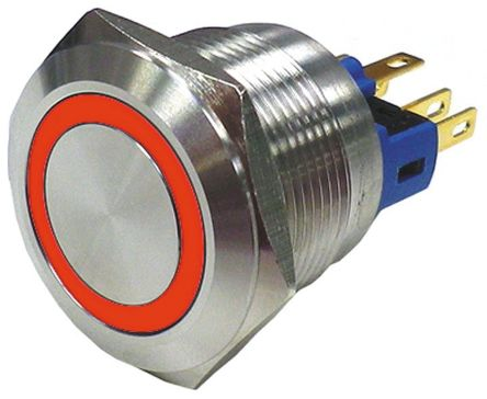 RS PRO Single Pole Double Throw (SPDT) Latching Red LED Push Button Switch, IP65, IP67, 22 (Dia.)mm, Panel Mount, 250V