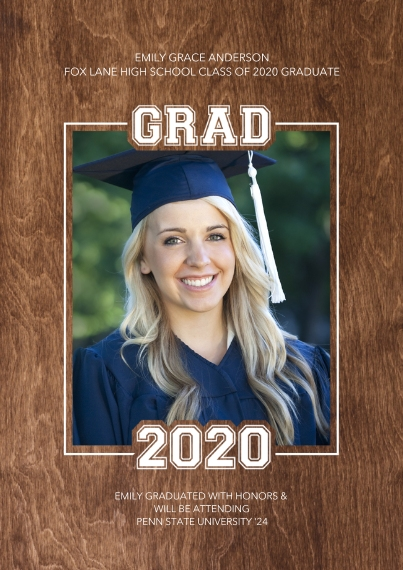 Graduation Announcements 5x7 Cards, Premium Cardstock 120lb with Elegant Corners, Card & Stationery -Grad 2020 Borders by Tumbalina