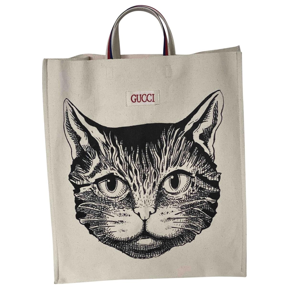 Gucci Cat Lock Handtasche in  Weiss Leinen