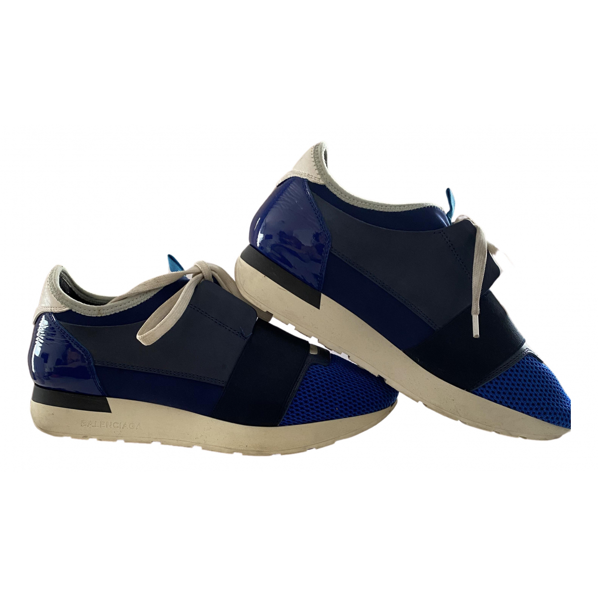 Balenciaga Race Sneakers in  Blau Leder