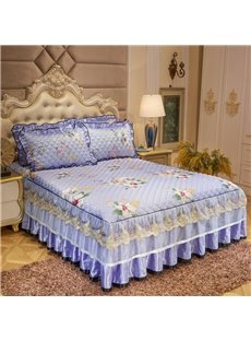 Floral Pattern Purple Lace Quilting Bed Skirt