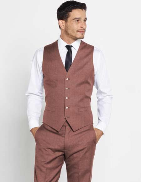 Mens Brown 5 Button Vest Matching Dress Pants Color Shirt Tie