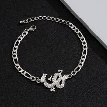 Maenner Armband mit Strass und Drachen Dekor