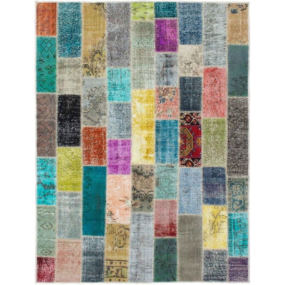 ECARPETGALLERY Hand-knotted Color Transition Patchwork Multi Wool Rug - 5'4 x 7'8 (Multi Color - 5'4 x 7'8)