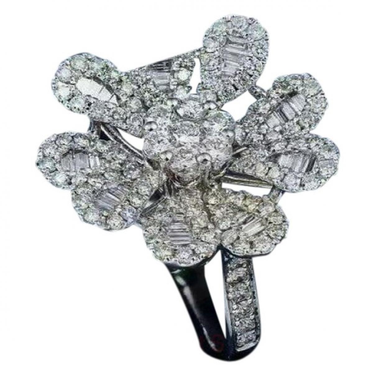 - Bague Motifs Floraux pour femme en or blanc - argente