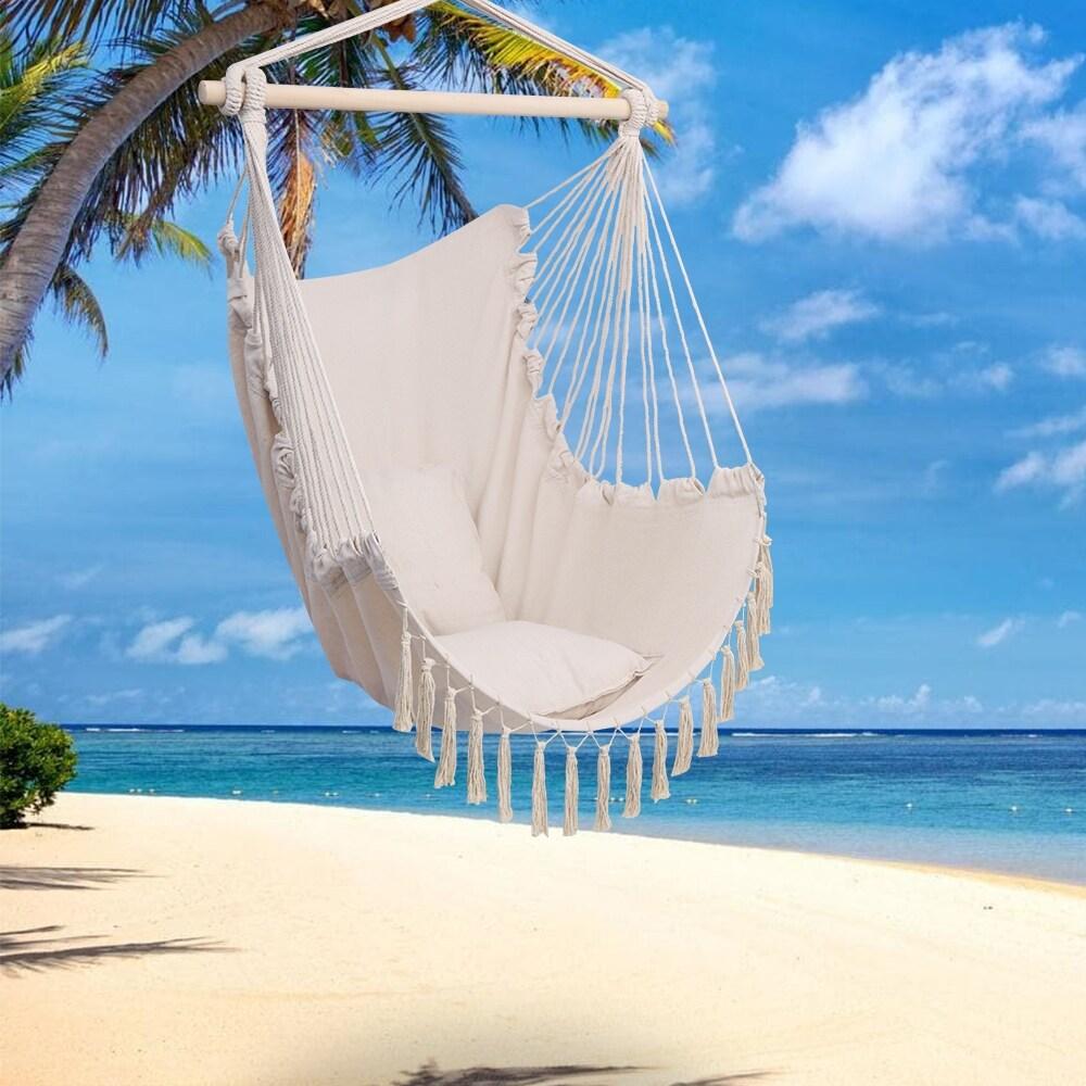 Outdoor Pillow Tassel Hanging Chair Hammock Beige and Grey (Beige)