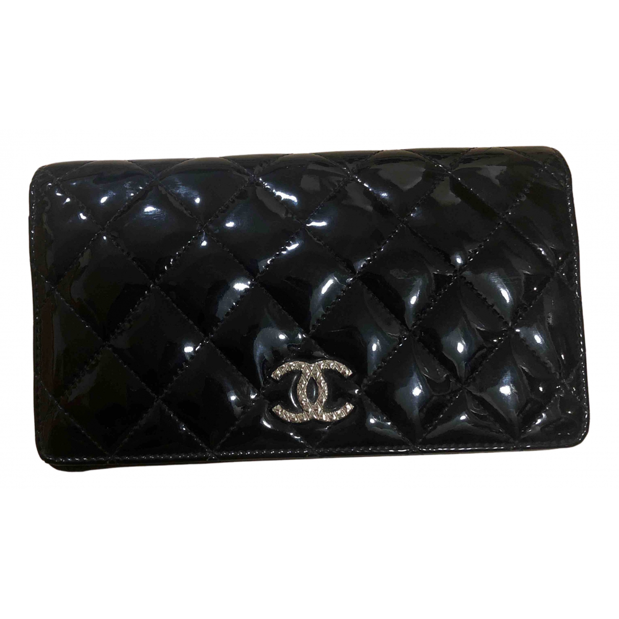 Chanel - Portefeuille Timeless/Classique pour femme en cuir verni - noir