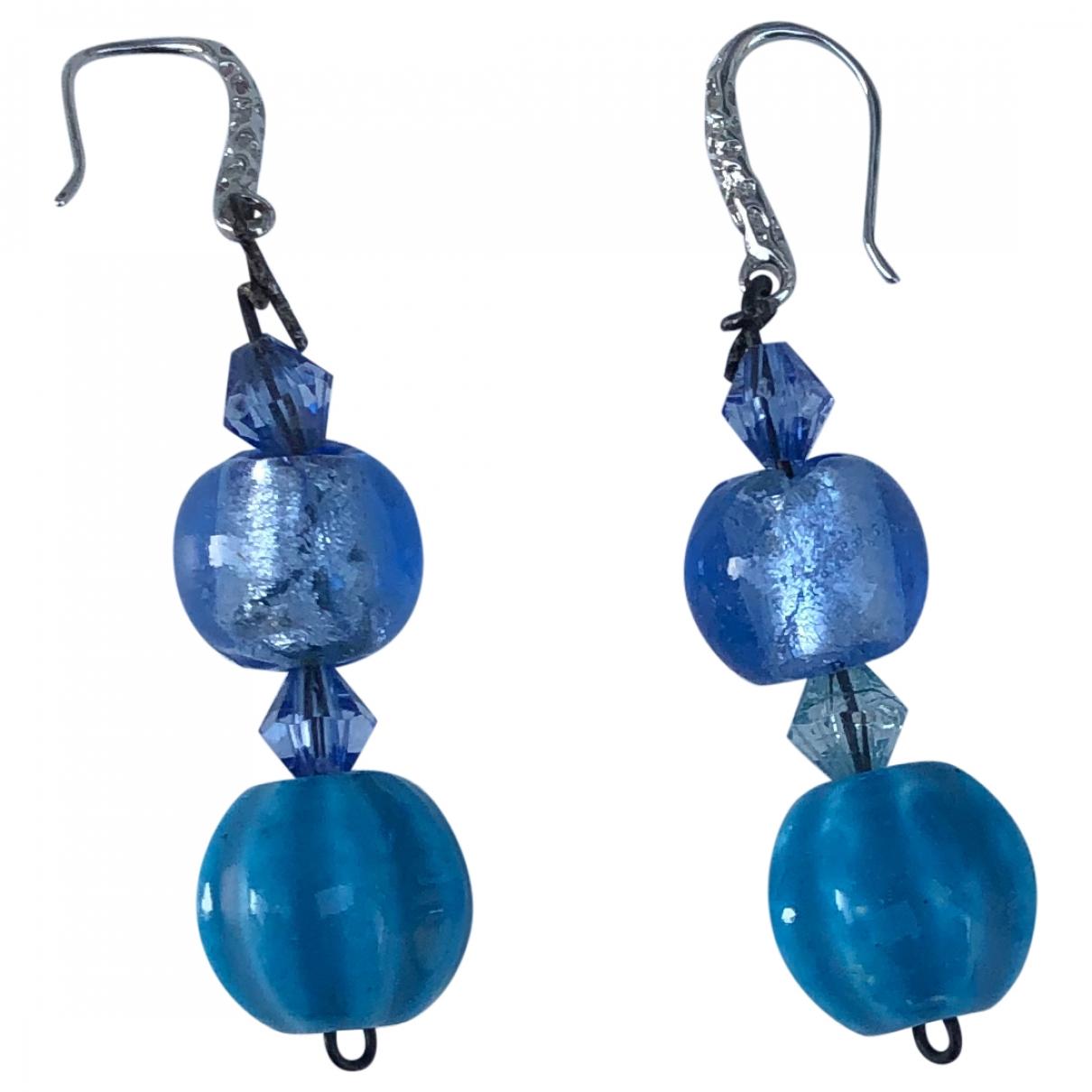 - Boucles doreilles   pour femme en cuir - bleu