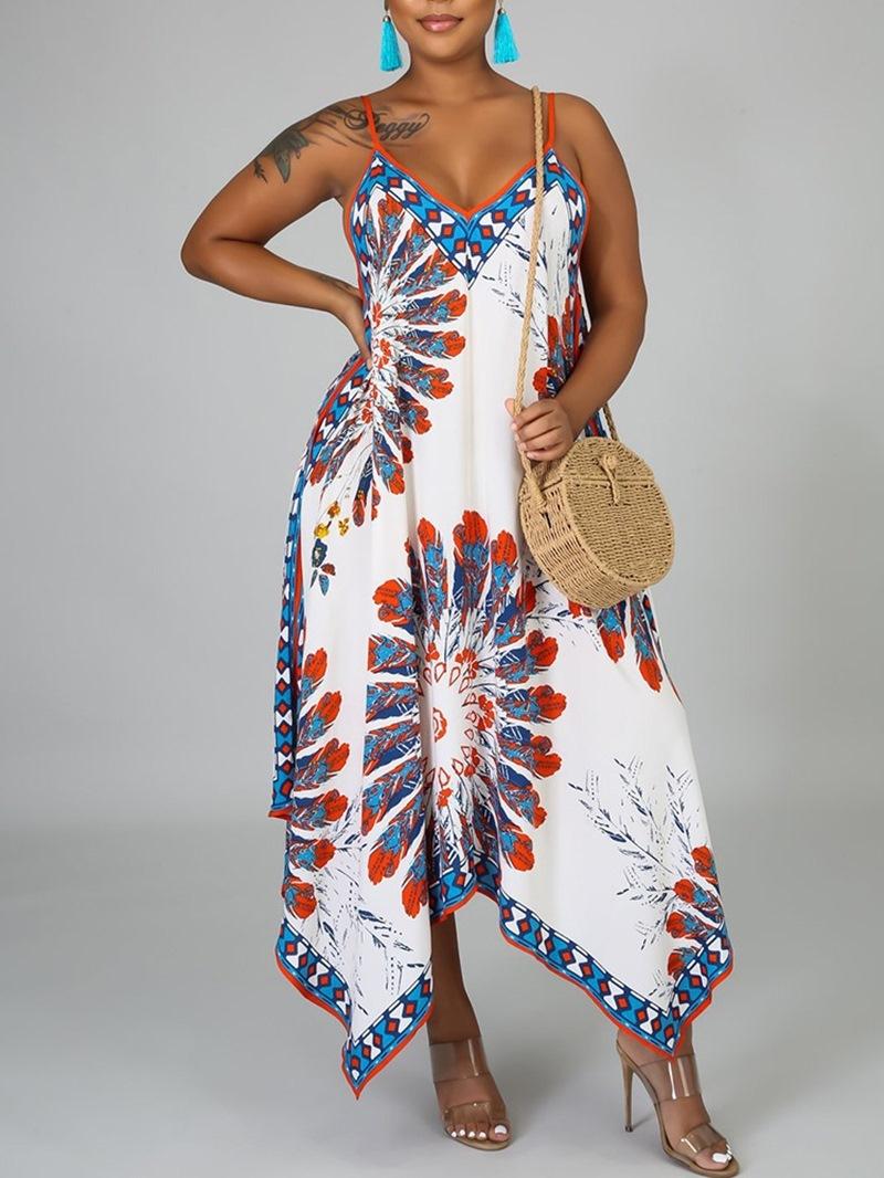 Ericdress Sleeveless Asymmetric V-Neck Pullover Expansion Dress