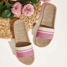 Open Toe Linen Flat Sliders