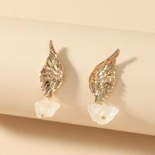 Wing & Stone Stud Earrings