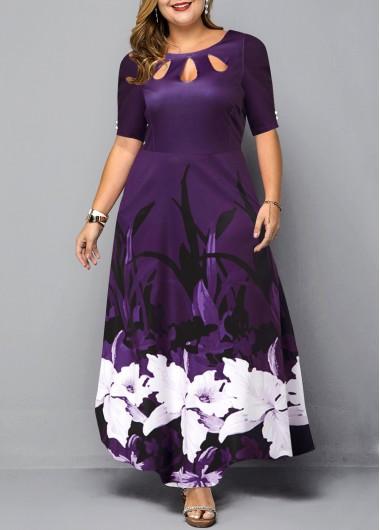 Floral Print Keyhole Neckline Plus Size Dress - 2X