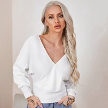 Surplice Neck V-back Batwing Sleeve Solid Sweater