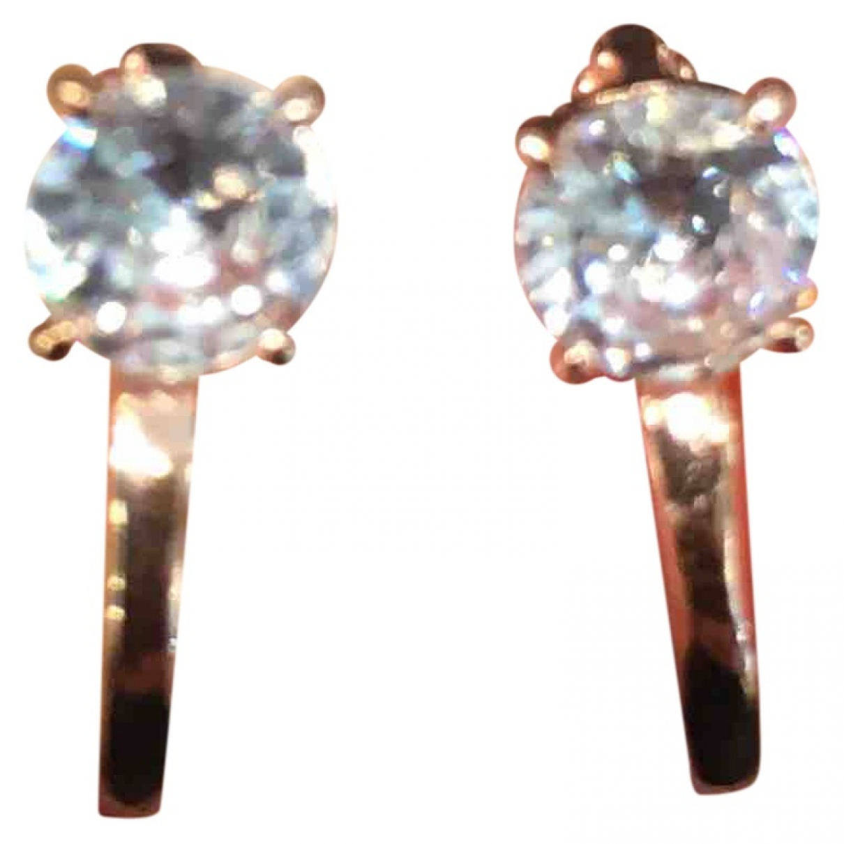Non Signé / Unsigned Créoles Pink Silver Earrings for Women \N