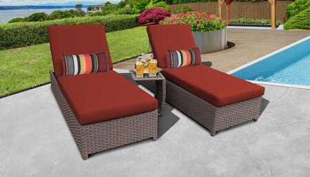 Florence Collection FLORENCE-W-2x-ST-TERRACOTTA Patio Set with 2 Chaise with Wheels  1 Side Table - Grey and Terracotta
