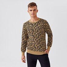 Jerseis Punto para hombre Leopardo Casual