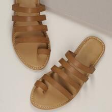 Flache Sandalen mit Zehen Band und Multi Riemen