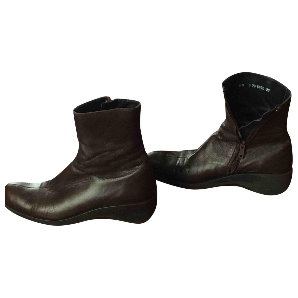 Robert Clergerie - Boots   pour femme en cuir - marron