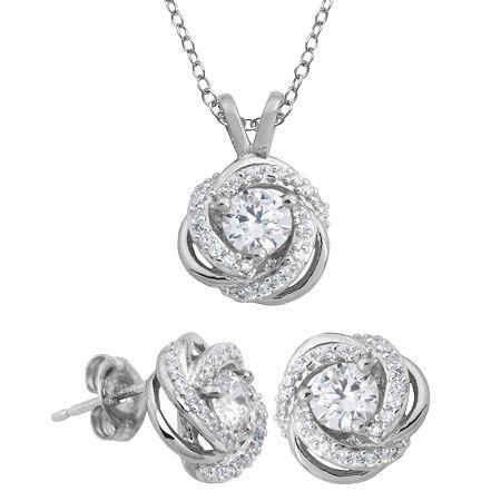 DiamonArt Cubic Zirconia Love Knot Pendant Necklace & Earring Set, One Size , No Color Family