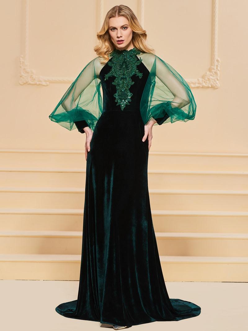 Ericdress A Line Velvet Applique Beaded Long Sleeve Evening Dress