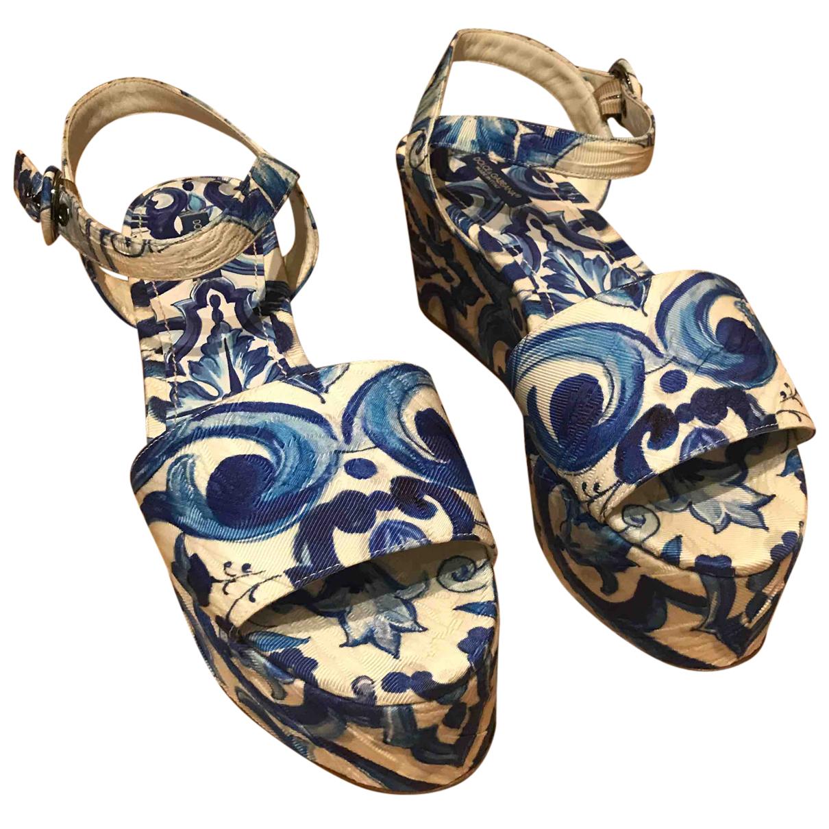 Dolce & Gabbana - Sandales   pour femme en toile - turquoise