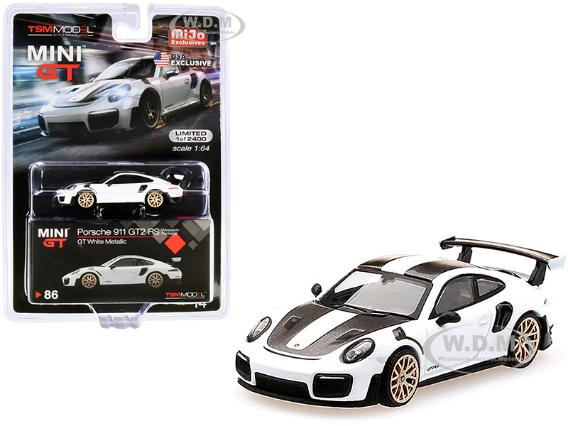 Porsche 911 GT2 RS Weissach Package GT White Metallic with Carbon Stripes Limited Edition to 2400 pieces Worldwide 1/64 Diecast Model Car by True Sca
