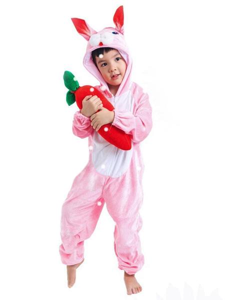 Milanoo Kigurumi Onesie Pajamas Easter Bunny Kids Velour Winter Sleepwear Mascot Animal Halloween