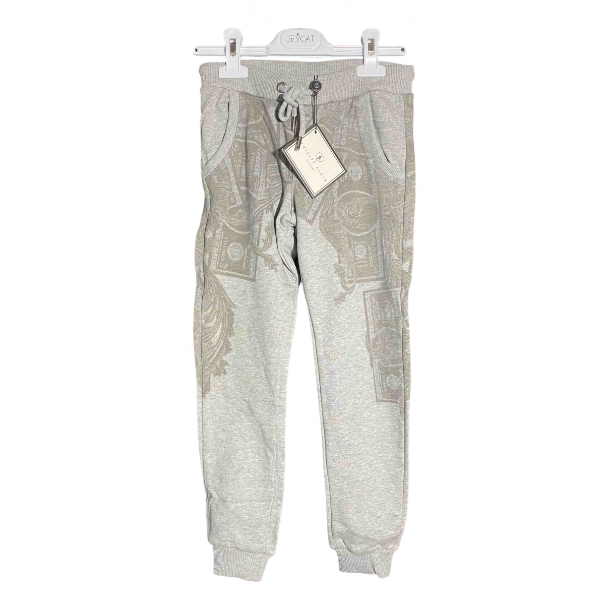 Philipp Plein N Grey Cotton Trousers for Kids 10 years - up to 142cm FR