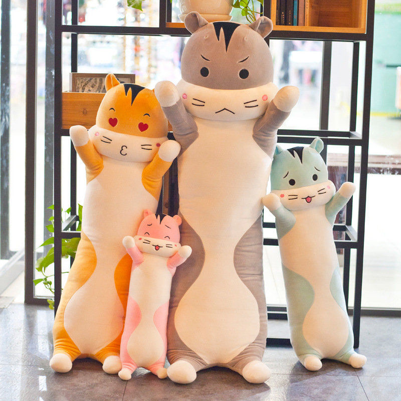 40/60/80cm Cute Hamster Long Strip Feather Stuffed Toys Home Bedroom Back Seat Pillow Toy Child Gift