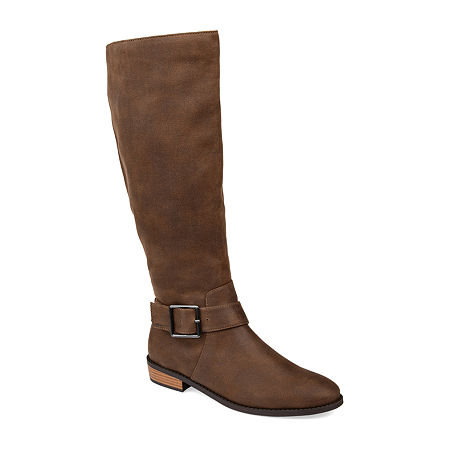 Journee Collection Womens Winona Stacked Heel Riding Boots, 8 1/2 Medium, Brown