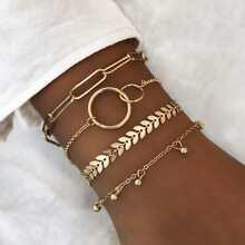 4pcs Leaf Decor Link Armband