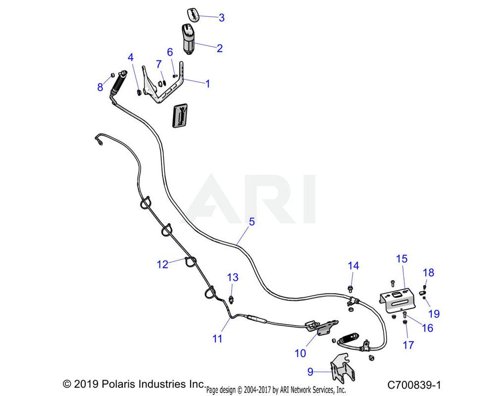 Polaris OEM 7082562 CABLE-THROTTLE, DSL